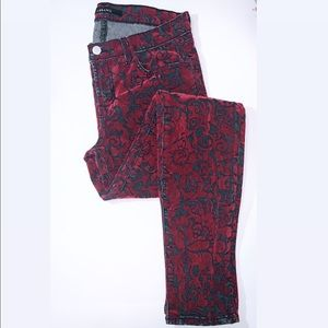 EUC J brand Red Brocade Floral Skinny Jeans